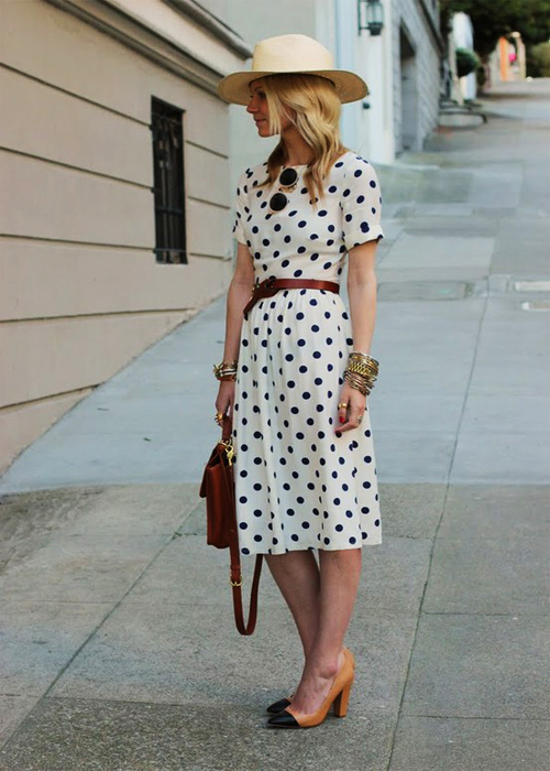 Street-Style-Polka-Dot-Dress-Idea-2013