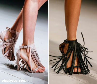 Sandals with fringe by Marios Schwab