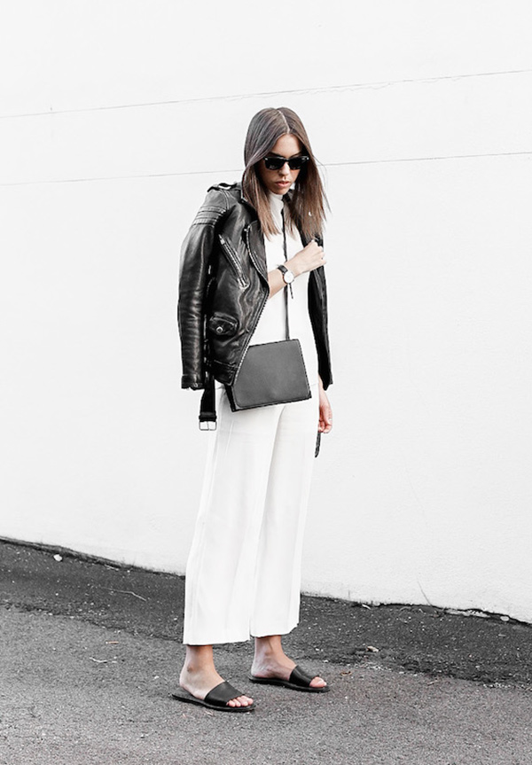 street-style-look-jaqueta-couro-culotte-branca-slide-preta